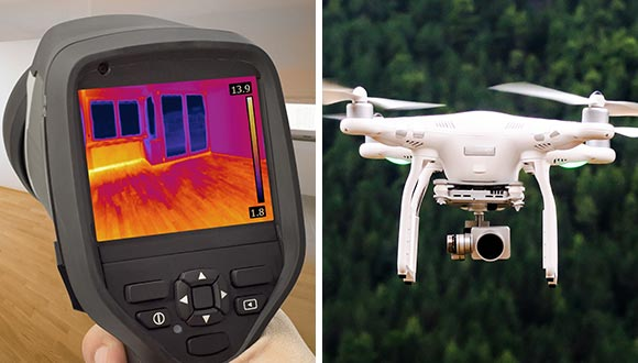 An example of a thermal imaging (infrared) camera and an aerial drone.